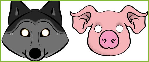 600x250 Three Little Pigs Role Play Masks A Set