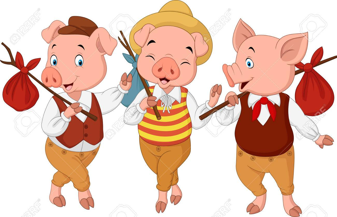 1300x836 Vector Illustration Of Cartoon Three Little Pigs Royalty Free