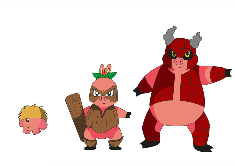 900x636 3 Little Pigs Pokemon By Ricardojorgefla