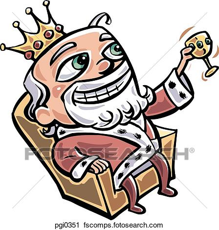 448x470 Clipart Of A Royalty Sitting In His Throne, Drinking Pgi0351