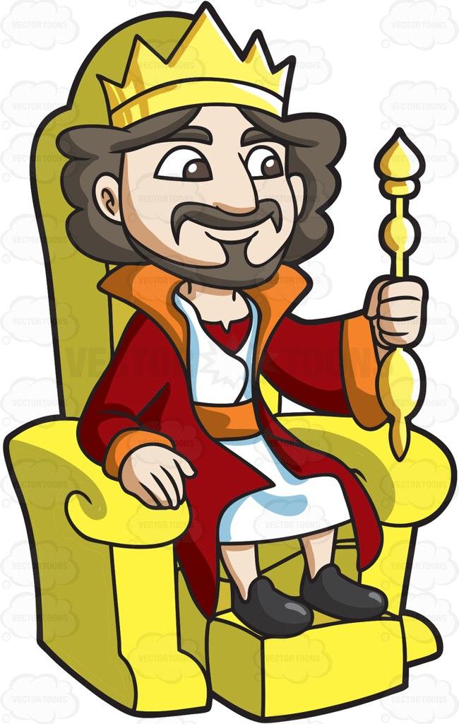 650x1024 A King Sitting On His Throne Cartoon Clipart
