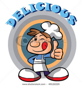 287x300 Little Chef Giving The Thumbs Up With Delicious Text Clip Art