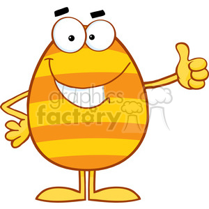 300x300 Royalty Free Clipart Of Smiling Colorful Easter Egg Showing Thumbs