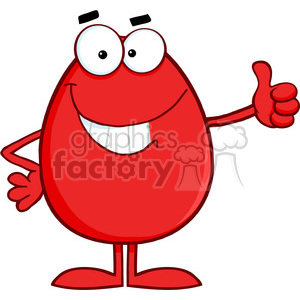 300x300 Royalty Free Clipart Of Smiling Red Easter Egg Cartoon Character