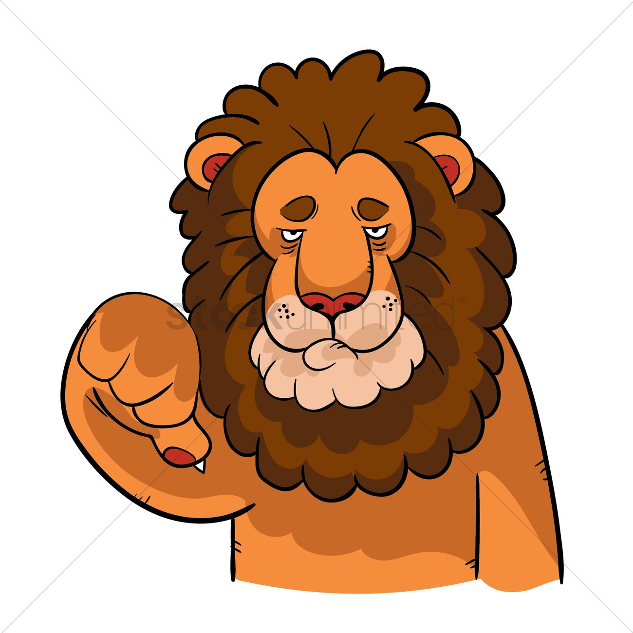 1300x1300 Cartoon Lion With Thumbs Down Gesture Vector Image
