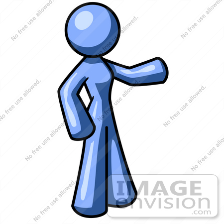 450x450 Clip Art Graphic Of A Blue Woman Character Standing And Pointing