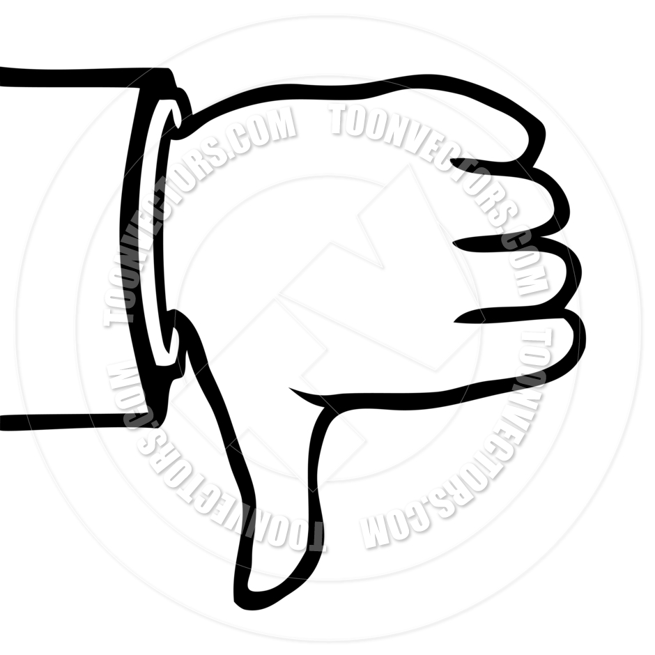 940x940 Black And White Thumbs Down By Colin Cramm Illustration
