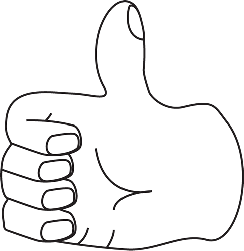 486x500 White Clipart Thumbs Up