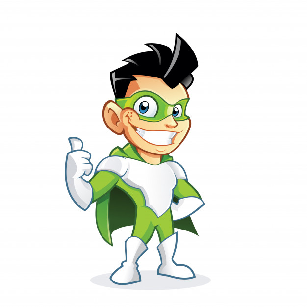 626x626 Cute Superhero Boy Showing Thumbs Up Sign Vector Premium Download