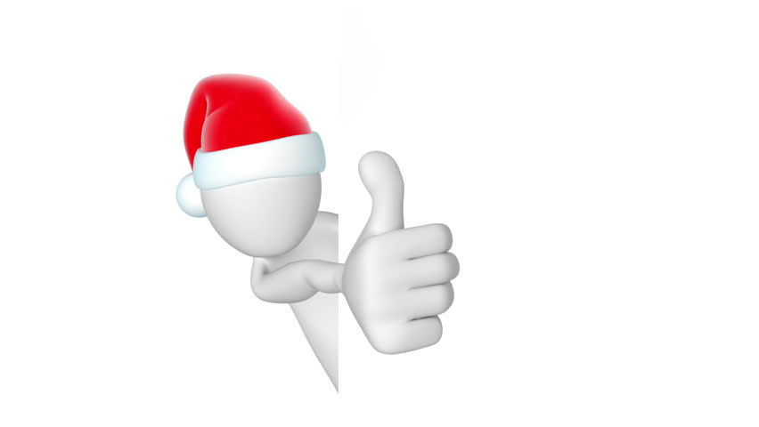 852x480 Santa, Thumbs Up. 3d Animation With Alpha Matte Stock Footage