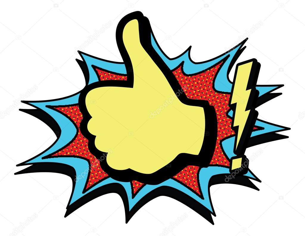 1024x793 Vintage Pop Art Thumbs Up. Stock Vector Scotferdon