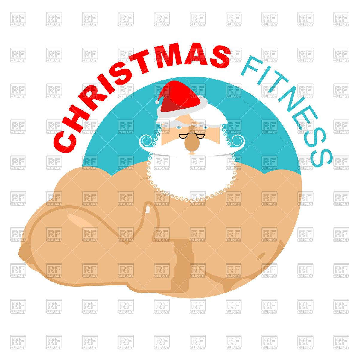 1200x1200 Christmas Fitness. Strong Santa Thumbs Up. Royalty Free Vector