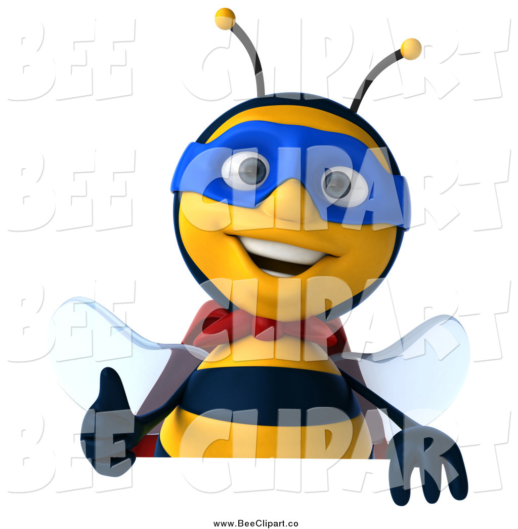 1024x1044 Clip Art Of A 3d Happy Bee Super Hero Over A Sign With A Thumbs Up