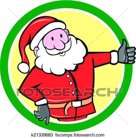450x459 Clipart Of Santa Claus Father Christmas Thumbs Up Circle Cartoon