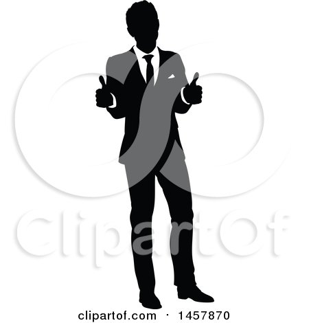 450x470 Clipart Of A Black And White Silhouetted Business Man Giving Two