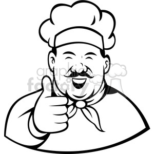 300x300 Royalty Free Chef Giving A Thumbs Up Black White Clip Art 388366