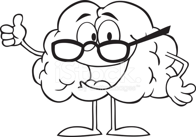 628x440 Black And White Brain Cartoon Character Giving The Thumbs Up Stock