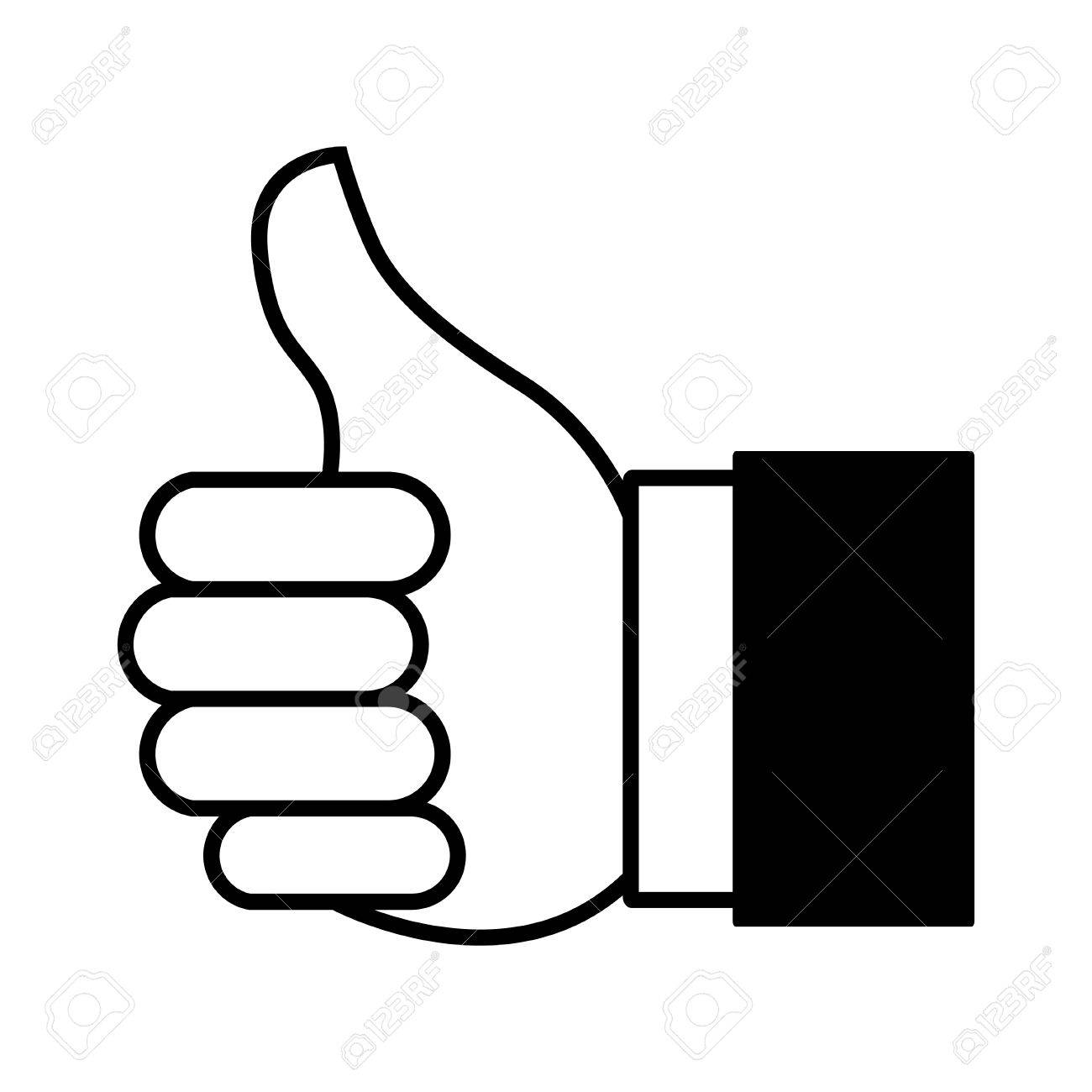 1300x1300 Cartoon Illustration Of Thumbs Up Or Like Hand Gesture For Website