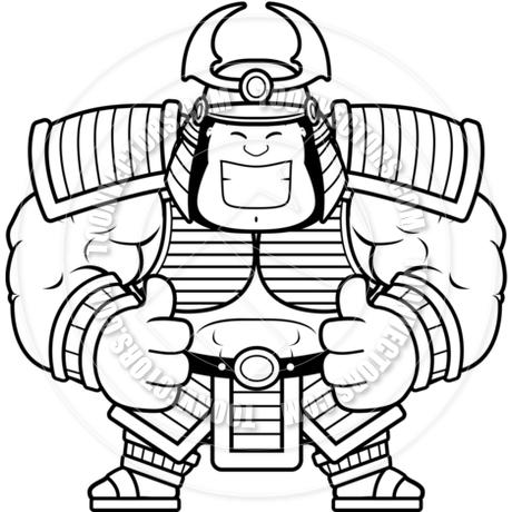 460x460 Cartoon Samurai Thumbs Up (Black Amp White Line Art) By Cory Thoman