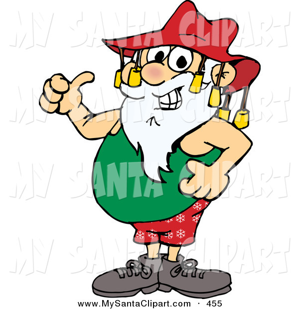 600x620 Christmas Clip Art Of A Smiling Summer Santa Claus Giving