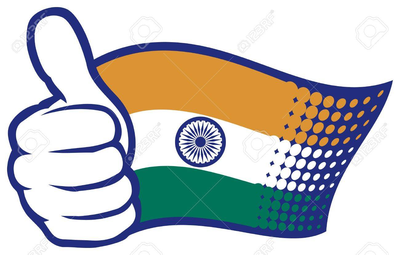 1300x829 Flag Of India Hand Showing Thumbs Up Royalty Free Cliparts