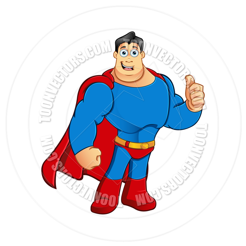 940x940 Cartoon Superhero Character Giving A Thumbs Up By Designwolf