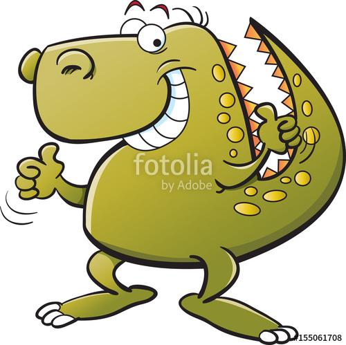 500x499 Cartoon Illustration Of A Dinosaur Giving Thumbs Up. Stock Image