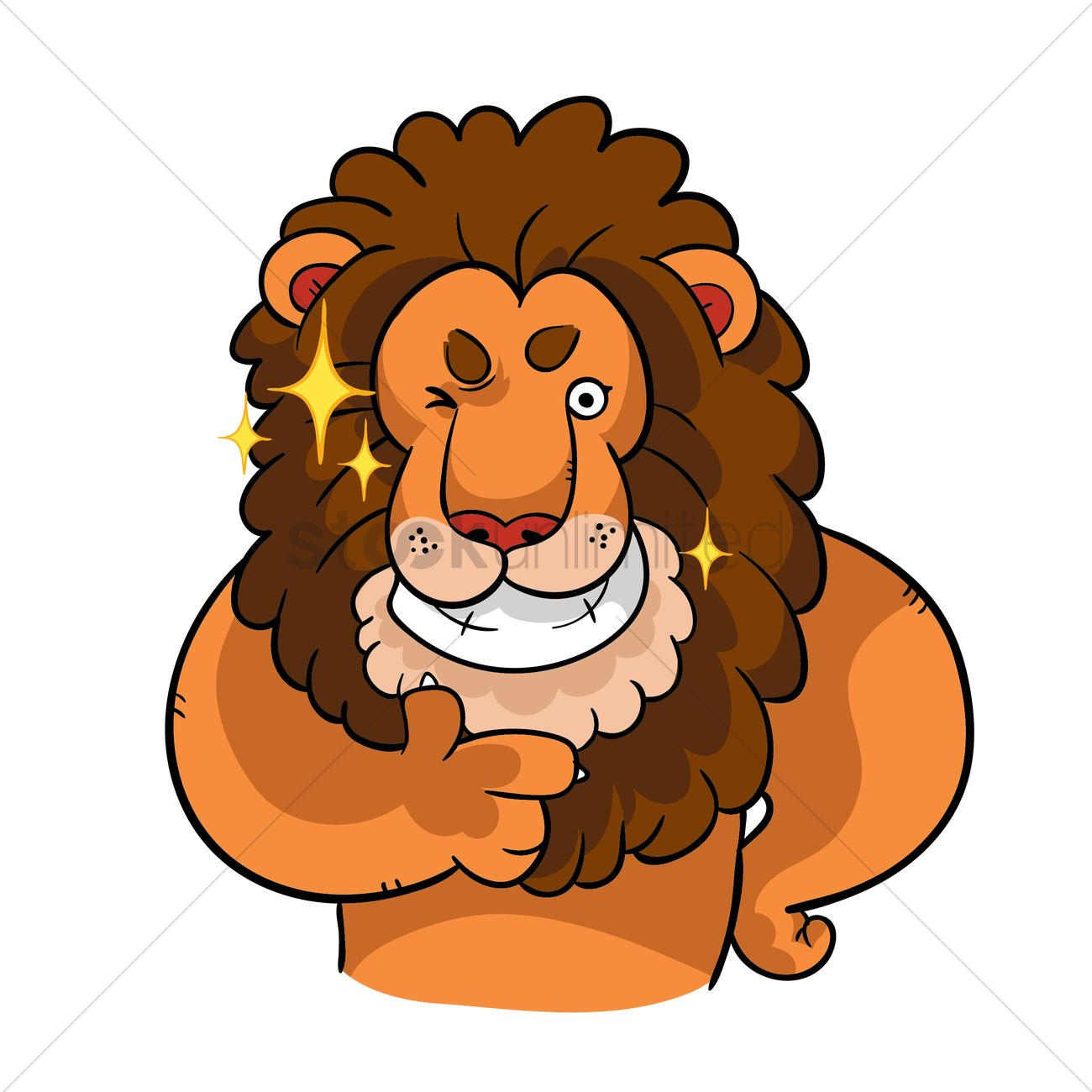 1300x1300 Cartoon Lion With Thumbs Up Gesture Vector Image