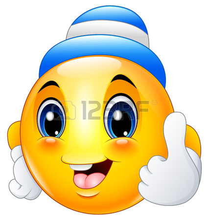 427x450 Cartoon Emoticon Smiley Wearing A Cap And Giving A Thumbs Up Stock