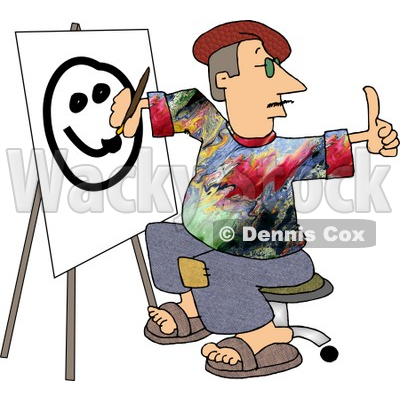 400x400 Painter Artist Giving The Thumbs Up While Painting A Smiley Face