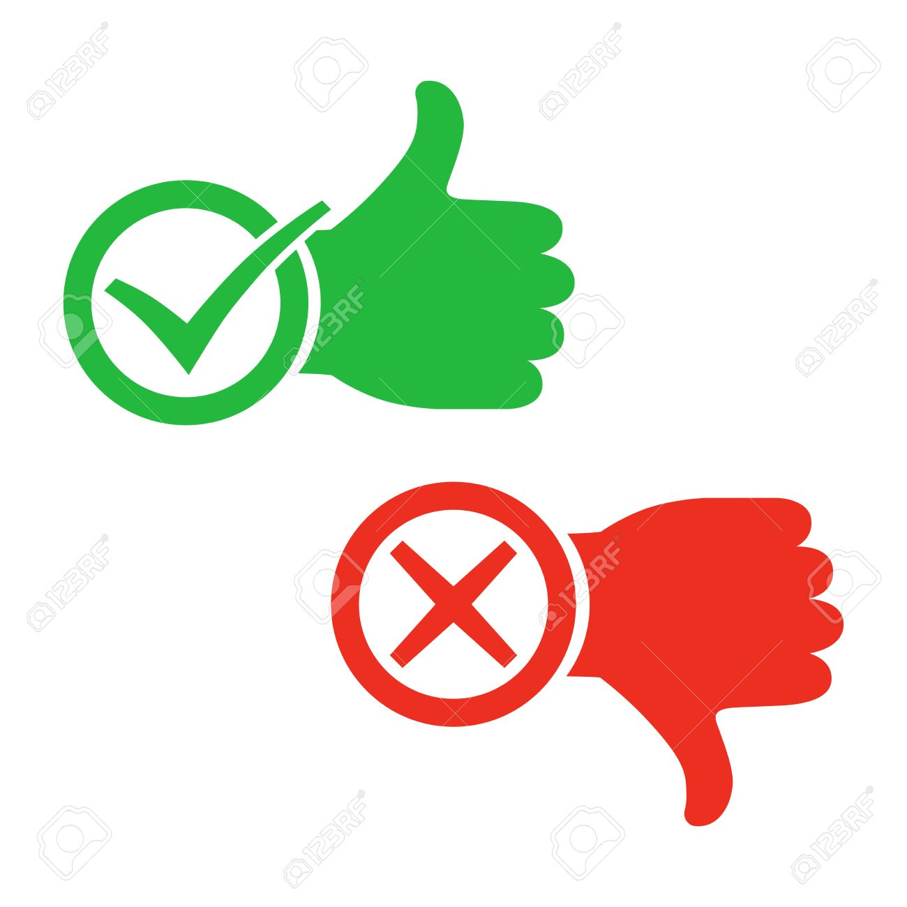 1300x1300 Thumb Up Icon With Check Mark. Thumb Down With Cross Mark. Vector
