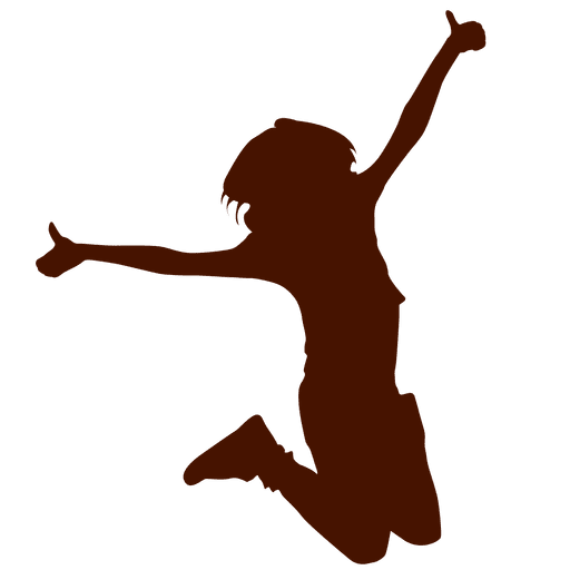 512x512 Child Jump Silhouette With Thumbs Up
