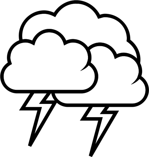 476x500 Black And White Weather Forecast Icon For Thunder Vector Graphics