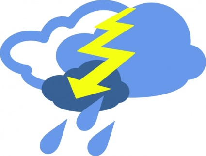 425x322 Severe Thunder Storms Weather Symbol Clip Art Vector, Free Vector