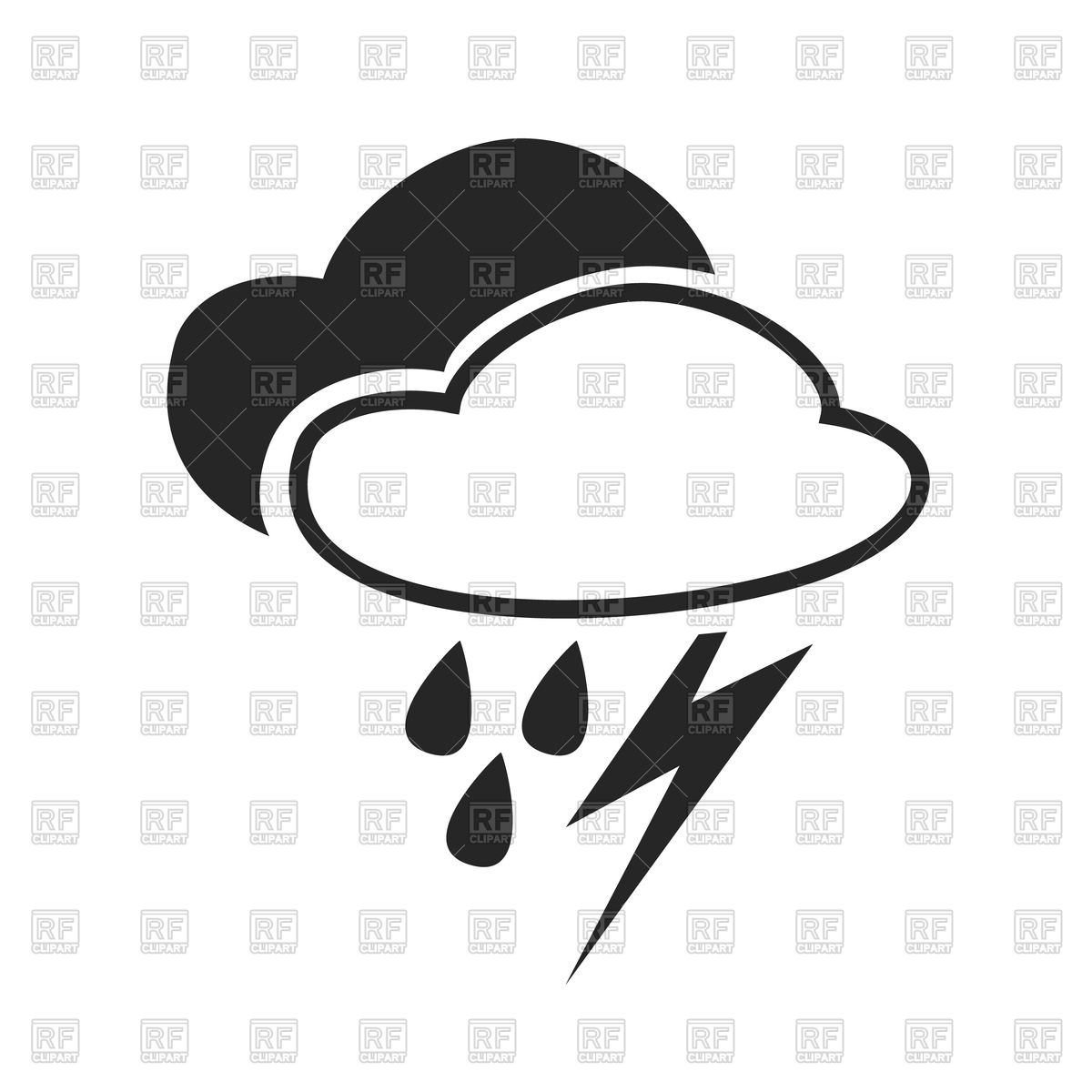 1200x1200 Heavy Rain, Thunderstorm, Weather Forecast Icon Royalty Free