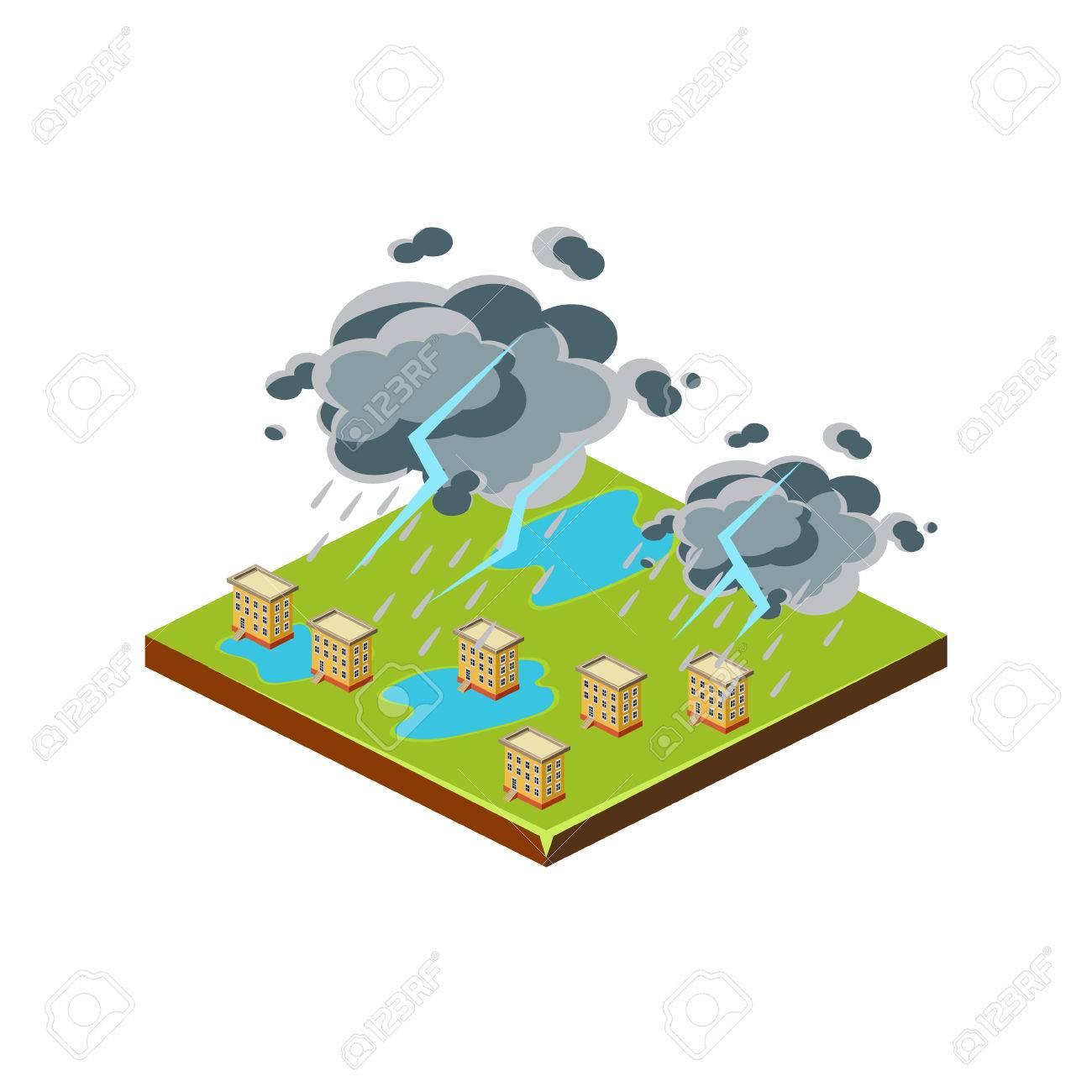 1300x1300 Thunderstorm. Natural Disaster Icon. 3d Vector Illustration