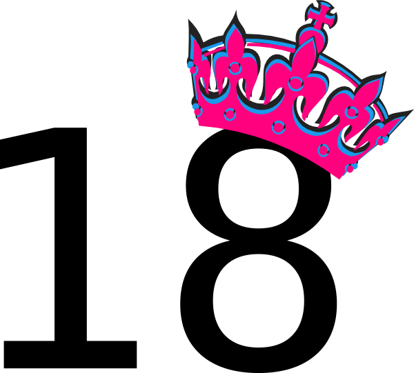 600x541 Pink Tilted Tiara And Number 18 Png, Svg Clip Art For Web