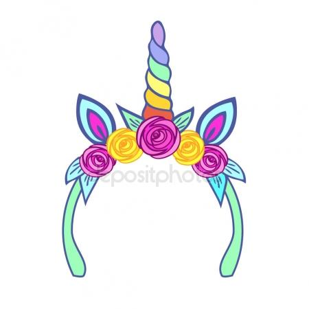 450x450 Unicorn Tiara With Rainbow Horn And Pink, Yellow Roses. Vector