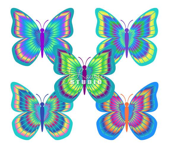 570x499 Digital Clipart Butterflies Tie Dye Butterflies Tie Dyed Clip Art