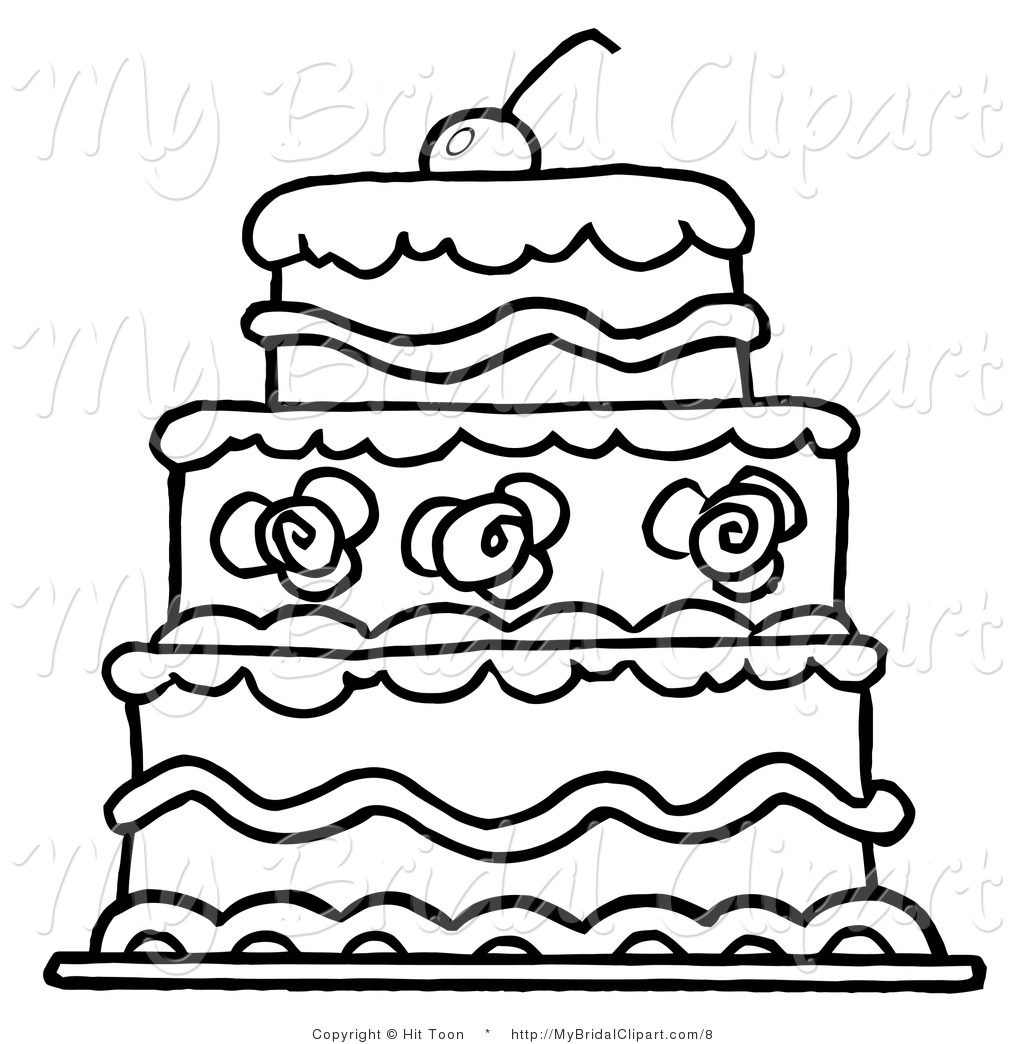 1024x1044 Bridal Vector Clipart Of An Outlined Three Tier Wedding Cake By