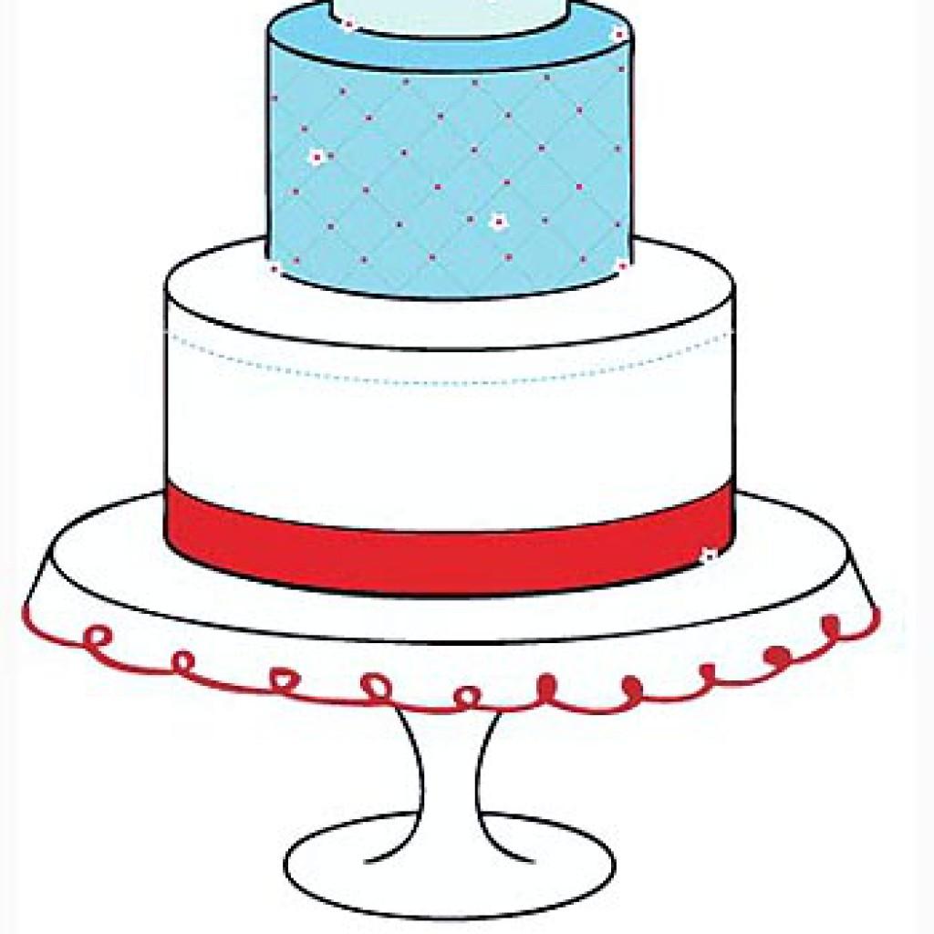 1024x1024 Drawn Wedding Cake Tier Cake