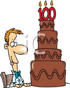 240x300 Man With A Tiered Chocolate One Hundredth Birthday Cake