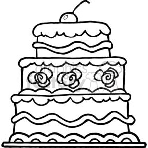 300x300 Royalty Free Elegant Three Tiered Wedding Cake 379398 Vector Clip