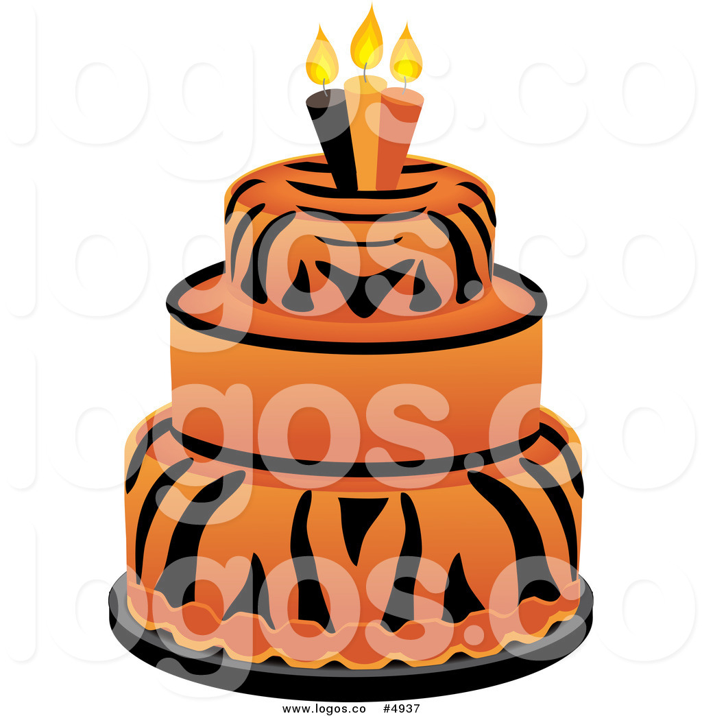 1024x1044 Royalty Free Vector Of A Tiered Tiger Print Cake With Birthday
