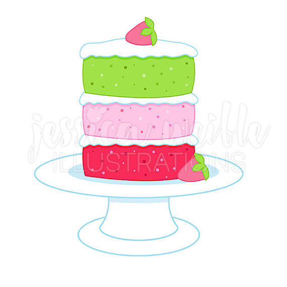 570x570 Tiered Strawberry Cake Cute Digital Clipart, Strawberry Cake Clip