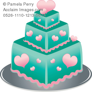 300x298 Art Illustration Of A Square 3 Tier Cake Decorated With Hearts