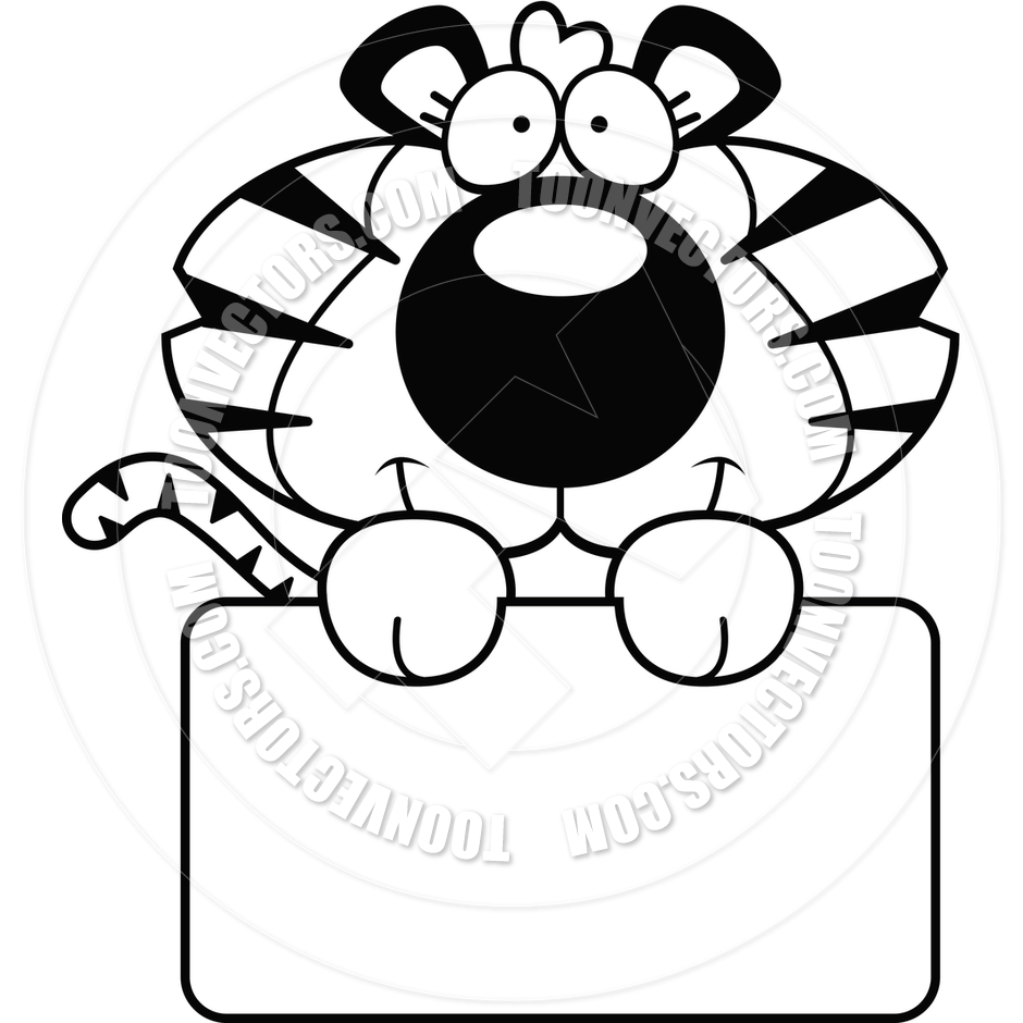 940x940 Cartoon Tiger Cub Sign (Black And White Line Art) By Cory Thoman
