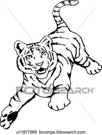 358x470 Clip Art of Tiger u11877569