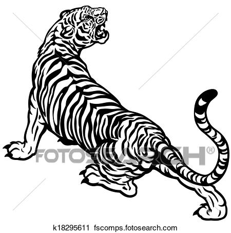 450x453 Clipart of angry tiger k18295611