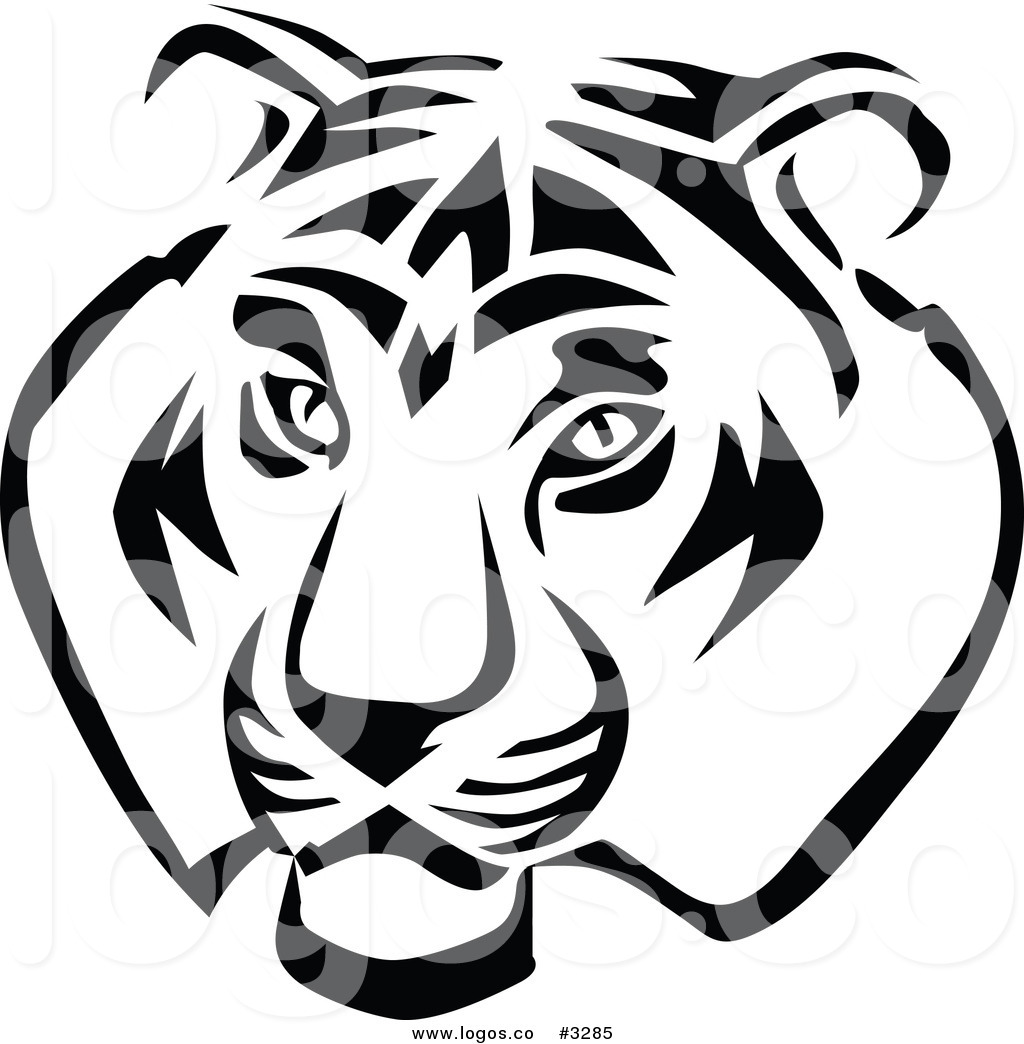 1024x1044 Royalty Free Vector Of A Black And White Tiger Head Logo By Vector